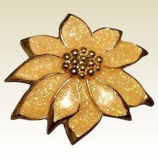 Gold Tone Medal Peach Glitter Enamel Flower Brooch Pendant