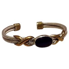 Double Cable Mexican Sterling Silver Cuff Bracelet With Gold Accents & Black Onyx Center