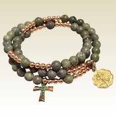 Irish Connermara Marble Wrap Bracelet St. Patrick