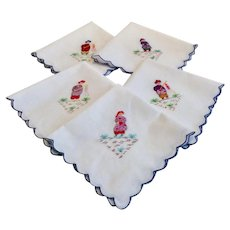 Set Of Five Embroidered Scalloped Edge Luncheon Napkins
