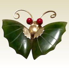 Jade Butterfly Gold Tone Metal With Coral Eyes Brooch Pendant