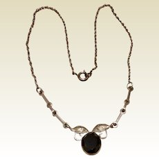1960's Sterling Silver Hematite Necklace