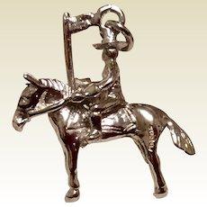 Texas Ranger Cowboy & Flag Sterling Silver Charm Pendant