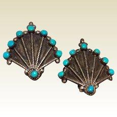 Sterling Silver Turquoise Fan Shaped Clip Earrings