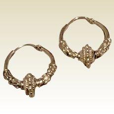 Sterling Silver Decorative Hoop Earrings