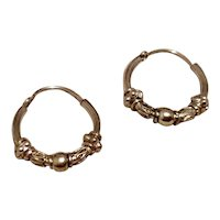 Decorative Sterling Silver Hoop Earrings
