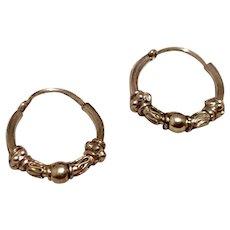 Decorative Sterling Silver Hoop Earrings