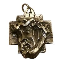 Silver Tone Metal Jesus Wreath Of Thorns Medal Pendant