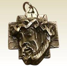 Silver Tone Metal Jesus Wreath Of Thorns Medal Pendant