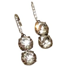 Sparkling Clear Paste Sterling Silver Upcycled 11 CT. Drop Earrings