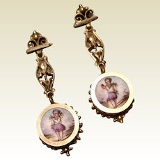Gold Filled Victorian Hand Painted Porcelain Dangle Earrings
