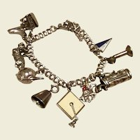 Sterling Silver Charm Bracelet With Ten Charms