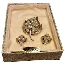 Coro Faux Pearl Gold Tone Metal Brooch & Earring Set