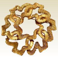 Crown Trifari Gold Tone Metal Circle Brooch