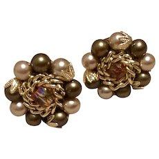 Japan Gold Tone Metal Faux Pearl Clip Earrings