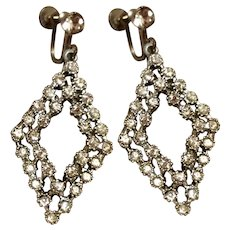 Dangle Rhinestone Screw Back Earrings Silver Tone
