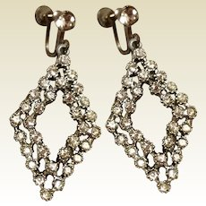 Dangle Rhinestone Screw Back Earrings Silver Tone