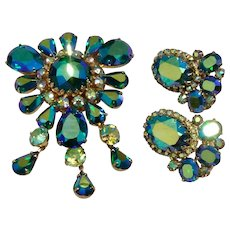 Art Deco Vendome Blueish Green Aurora Borealis Rhinestone Dangle Brooch Pendant & Clip Earrings