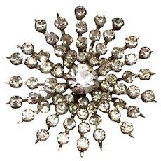 Snowflake Coro Rhinestone Brooch Silver Tone