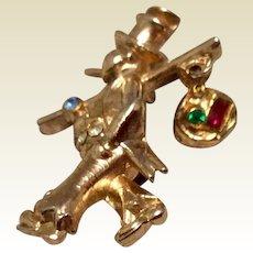 Hobo Coro Gold Tone Metal Rhinestone Brooch