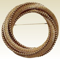 Gold Tone Metal Twisted Large Brooch