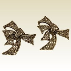 Marcasite Ribbon Bow Clip Earrings Gold Tone