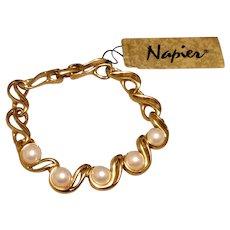 Napier Faux Pearl Bracelet Flexible Gold Links