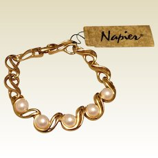 Napier Faux Pearl Bracelet Flexible Gold Links