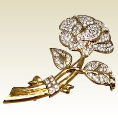 Nolan Miller Pave Rhinestone Rose Brooch In Original Box