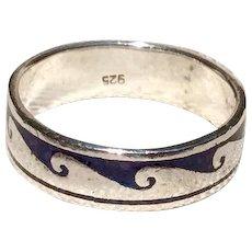 Vintage Sterling Silver Native American  Black Enamel Ring Size 12 1/2
