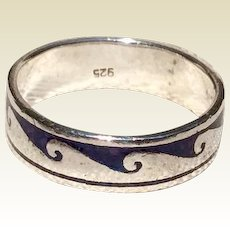 Vintage Sterling Silver Native American  Black Enamel Ring Size 12 1/2