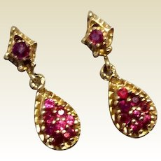 14K Gold Genuine Ruby Dangle Earrings