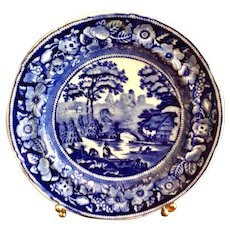 Antique Blue & White Wild Rose Dinner Plate