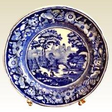 Antique Blue & White Wild Rose Dinner Plate