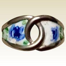 Vintage Sterling Silver Enamel Ring Size 4 3/4