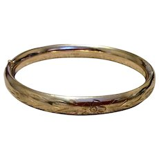 Vintage Carl Art Gold Filled Hinged Bangle Bracelet