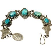 Vintage Egyptian Revival Silver Faience Scarab Bracelet