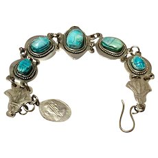 Vintage Egyptian Revival Silver Faience Scarab Bracelet