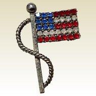 Vintage Silvertone Medal Red White & Blue Rhinestone American Flag Brooch