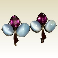 Vintage Sterling Silver Faux Moonstone Amethyst Paste Rhinestone Screw Back Earrings