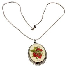 Vintage Sterling Silver Hand Painted Pendant Necklace
