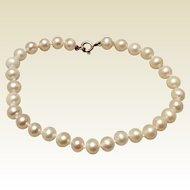 Vintage Sterling Silver Cultured Pearl Bracelet