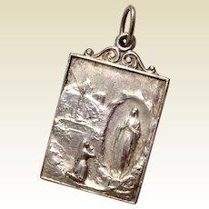 Vintage Silver Tone Our Lady Of Lourdes Catholic Pendant Medal