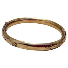 Vintage Gold Filled Carl Art Hinged Bangle Bracelet