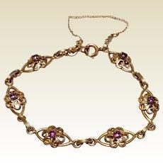 Vintage Gold Filled Genuine Amethyst Filigree Bracelet