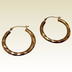 Vintage Silver Gilt Hoop Earrings