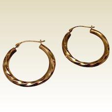 Vintage Silver Gilt Hoop Earrings