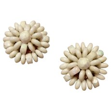 Vintage Made In Western Germany White Bead Clip Earrings