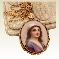 Antique Hand Painted Miniature Portrait Pendant Necklace