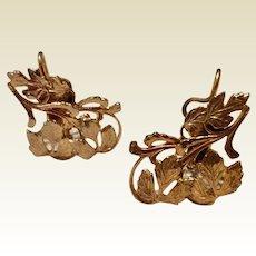 Vintage Gold Tone Metal Wingback Earrings